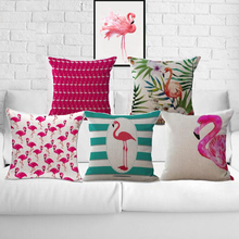 Free Shipping Wholesale 100% New Cotton Linen Foreign Trade Trend Flamingo Furnishing Cushion Pillow on sofa for home decoration
