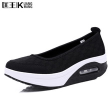 2017 Women Casual Shoes Summer Breathable Air Mesh Shoes Woman Platform Lightweight Height Increase Swing Women Shoes(China)
