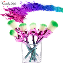 New Design 6pcs Rose Shaped Makeup Brushes Foundation Powder Make Up Brushes Blush Brush Set Green/Red Pincel Maquiagem(China)