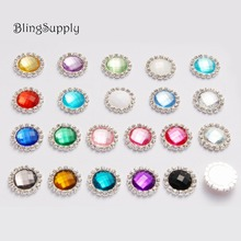 Free shipping 20mm acrylic crystal rhinestone buttons flatback embellishment can mix colors 100PCS/lot(BTN-5543)