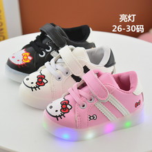 2017 Children girl casual hello kitty shoes Kids Girls Shoes  PU Shoes with LED Lighted 3colors Shoes 21-30 865 TX07