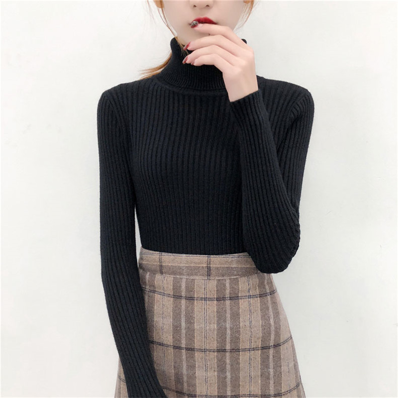 19 Women Sweater casual solid turtleneck female pullover full sleeve warm soft spring autumn winter knitted cotton 11