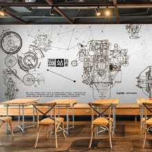 Free Shipping Automotive machinery spare parts sketch mural Bar Cafe restaurant background industrial wind wallpaper mural