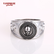 Vanpolee Skull Rock Rings Wholesale Fashion Big Silver Plated Men Ring Hot Anime DEATH NOTE Rings For Men Jewelry RA5055