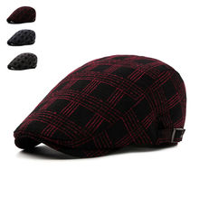 Brand Fashion Vintage Plaid Autumn Winter Sun Hats for Men Women High Quality Casual Cotton Women Beret Caps Newsboy Flat Hat(China)