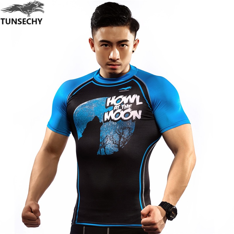NEW Mens Compression Shirts Bodybuilding Skin Tight Short Sleeve Jerseys TUNSECHY brand Crossfit Outdoor sports bike t Shirt 132
