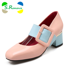 S.Romance Women Pumps Plus Size 31-43 Fashion Elegant Square Toe Buckle Strap Square Heel Woman Shoes White Red Black Pink SH539(China)