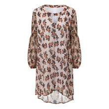 2017 New Fashion Women Hot Vintage Boho Floral Puff Sleeve Crochet Strap Sexy Mini Party Chiffon Dress Plus Size DM#6