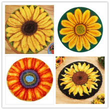 USA Shipping Latch Hook Kit Rug Cushion Pillow Craft Sunflowers 52CM by 52CM Cross Stitch Needlework Crocheting Rug Embroidery(China)
