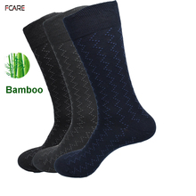 Fcare 12PCS=6 pairs bamboo men long leg socks plus size  43,44, 45 dress socks business socks