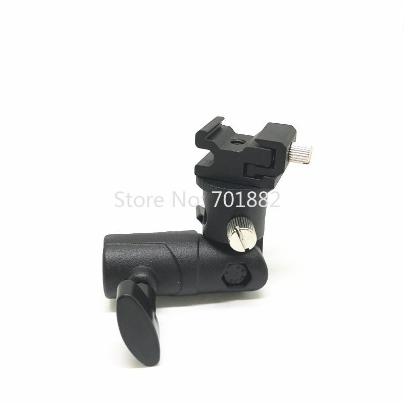 Jadkinsta Metal Flash Speedlite Bracket Hot Shoe to Light Stand Mount with Umbrella Holder Adapter Swivel Head (3)