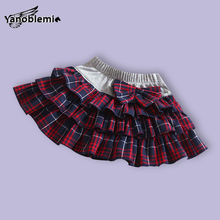 Girls Brand Tutu Skirts Baby Childrens Clothes Plaid Bow England Style Printing Pettiskirts Kids Dancing Party Princess Costumes