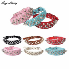 Pet Collars Pu Leather XXS-L Adjustable Leather Rivet Spiked Studded Pet Puppy Dog Collar Neck Strap Cool Pet Collars D16
