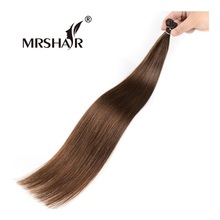 "MRSHAIR 4# Keratin Human Hair Extensions I Tip 1g Dark Brown Stick Hair Pre Bonded Cold Fusion Hair Keratin 16"" 20"" 24"" Non Remy(China)"