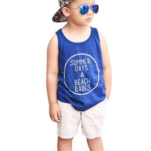 Promotion Toddler Kid Baby Boys Letter Print Vest T-shirt+Short Pants SUMMER DAYS BEACH BABES Baby boy clothes Outfits Set(China)