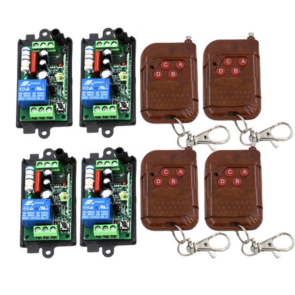 AC 110V 220V 1 Channel Intelligent RF Curtain Smart Remote Control Switch with 4-Key Peach Wooden Controller SKU: 5144<br>