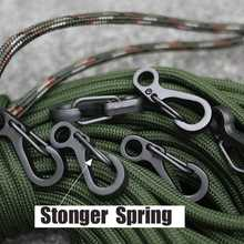 4PC DIY High Quality Durable Black Stainless Steel Keychain Black Buckle Carabiner Clip Split Ring Spring Clip