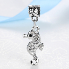 New Silver Plated Bead Charm Cute Sea Horse With full Crystal Pendant Beads Fit  Pandora Diy Bracelets & Bangles Jewelry YW15520