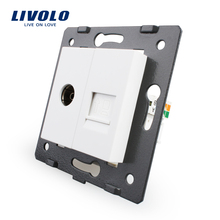 Manufacture Livolo, White Crystal Glass Panel, 2 Gangs Wall Computer and TV Socket / Outlet VL-C7-1VC-11, Without Plug adapter
