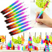 4Pcs/lot Stacker Swap Pencils Building Block Non-Sharpening Pencil Bullet pencil For Kids Gifts 14cm Colorful Wooden pens(China)