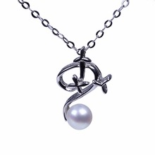 Cute AAA bread shape freshwater pearl pendant necklace sterling-silver-jewelry in note shape for Christmas gifts(China)