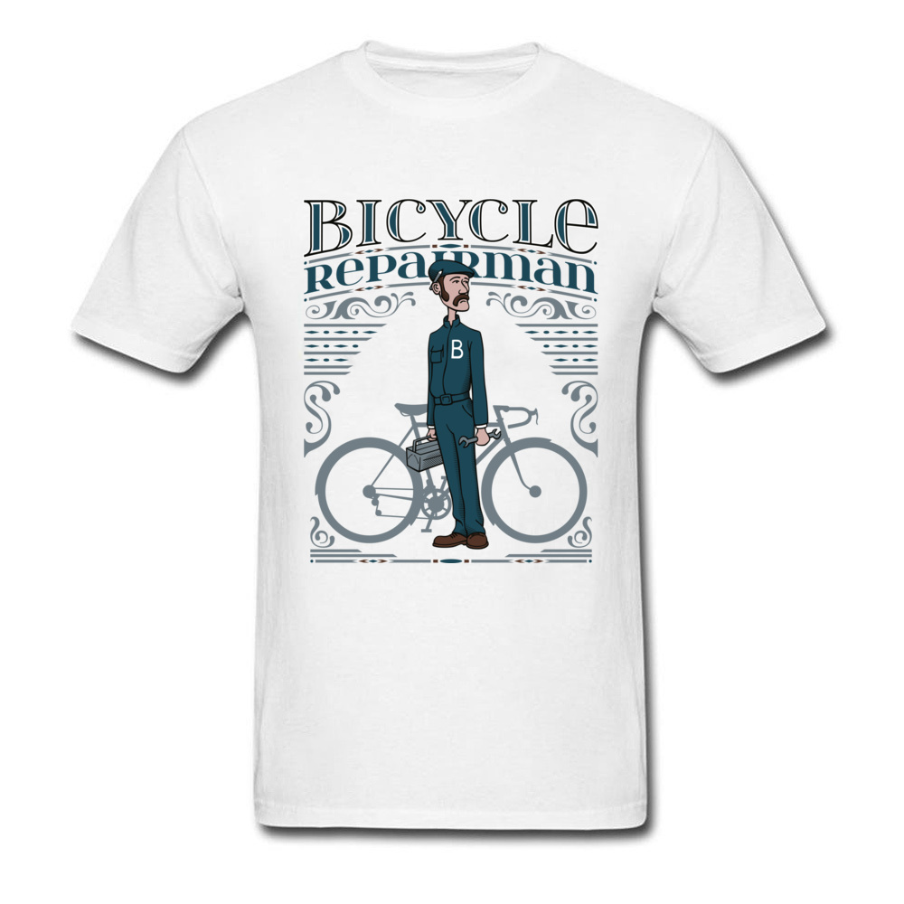 Bicycle Repairman T Shirts Custom Short Sleeve Cheap O-Neck 100% Cotton Tops Shirts Casual T Shirts for Men Mother Day Bicycle Repairman white