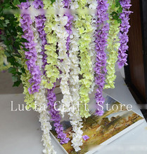 Lucia Crafts 1piece/lot 34cm Artificial Wisteria Flower Vine Handmade Hanging Garland Wedding Home Decorative Rattan 027005015