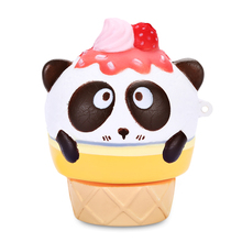 Squishy PU Sponge Slow Rising Simulate Cute Panda Ice Cream Toy Pendant Decoration Squeeze Stress Reliever For Worker and Childs