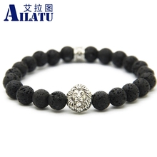 Ailatu New Arrival Mens Beaded Bracelet Wholesale 8mm Lava Rock Stone Beads Antique Silver Color Lion Head Energy Jewelry