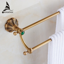 Free Shipping Bathroom Accessories Products Brass   Antique carving Double Towel Bar, Towel Holder Rack Tail  ET-7902
