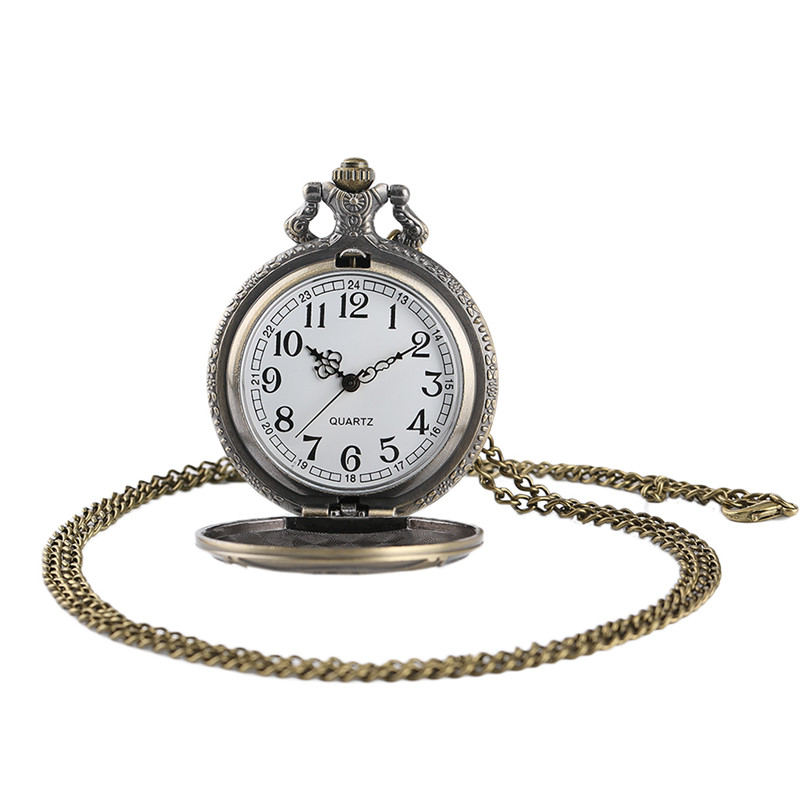 Antique Bronze Pocket Watch Classic Red Fire Fighter Symbol Carving Slim Necklace Creative Students Boys Clock Best Fireman Gift (6)