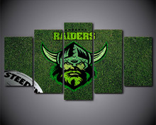 HD Printed 5 Piece Home Decor Canvas Art NRL Logo Raiders Rugby Painting Prints Poster Cartoon Wall Pictures for Living Room