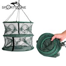 55 * 45cm Foldable Double Layer 12 Entrances Trap Fishing Lobster Fish Keep Cage Net Crayfish Net Mesh Cage