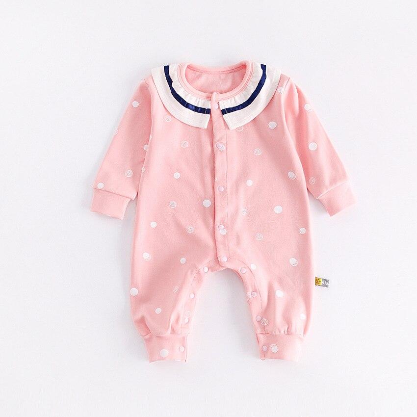 Peninsula Baby Autumn Winter Newborn Girls Cotton Long-Sleeve Baby Jumpsuit Cartoon Point Raindrop Print Baby Clothing Romper<br>