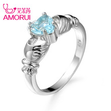 AMORUI Fashion Light Blue Crystal Ring Hand Holding Heart CZ Stone Silver Color Rings for Women Beautiful Wedding Rings Jewelry
