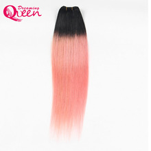 Dreaming Queen Hair Straight Hair Ombre Brazilian Hair Weave Extensions Rose Gold Color 100% Human Hair Extension 1 Piece Only