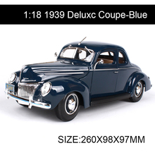 1:18 diecast Car 1939 Deluxc Coupe Blue Classic Cars 1:18 Alloy Car Metal Vehicle Collectible Models toys For Gift