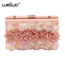 2017 women bag hot hand evening bag new the chain the Pearls Appliques wedding dinner bags  flowers day clutches bags NEW XA607B