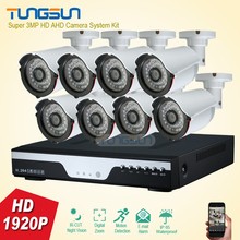 New Super 8 Channel Home HD 3MP Security Camera System AHD 1920P Video Surveillance infrared Bullet White 8CH DVR CCTV kit
