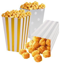 12pcs/lot Gold/Silver Metallic Mini Party Paper Popcorn Boxes Candy/Snack Favor Bags Wedding Birthday Movie Party Supplies V4014(China)