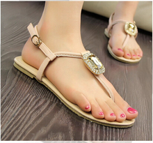 Freeshipping Best Selling Summer Shoes Women Flat Shoes Lady Flat Sandals Rhinestone Diamond Flip Flops Lady Shoes ML1396
