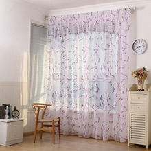 2m*1m Polyester Fiber Plant S Hook Shape Print Window Curtain Yarn Translucent Tulle Curtains Home Bedroom Hotel Decoration