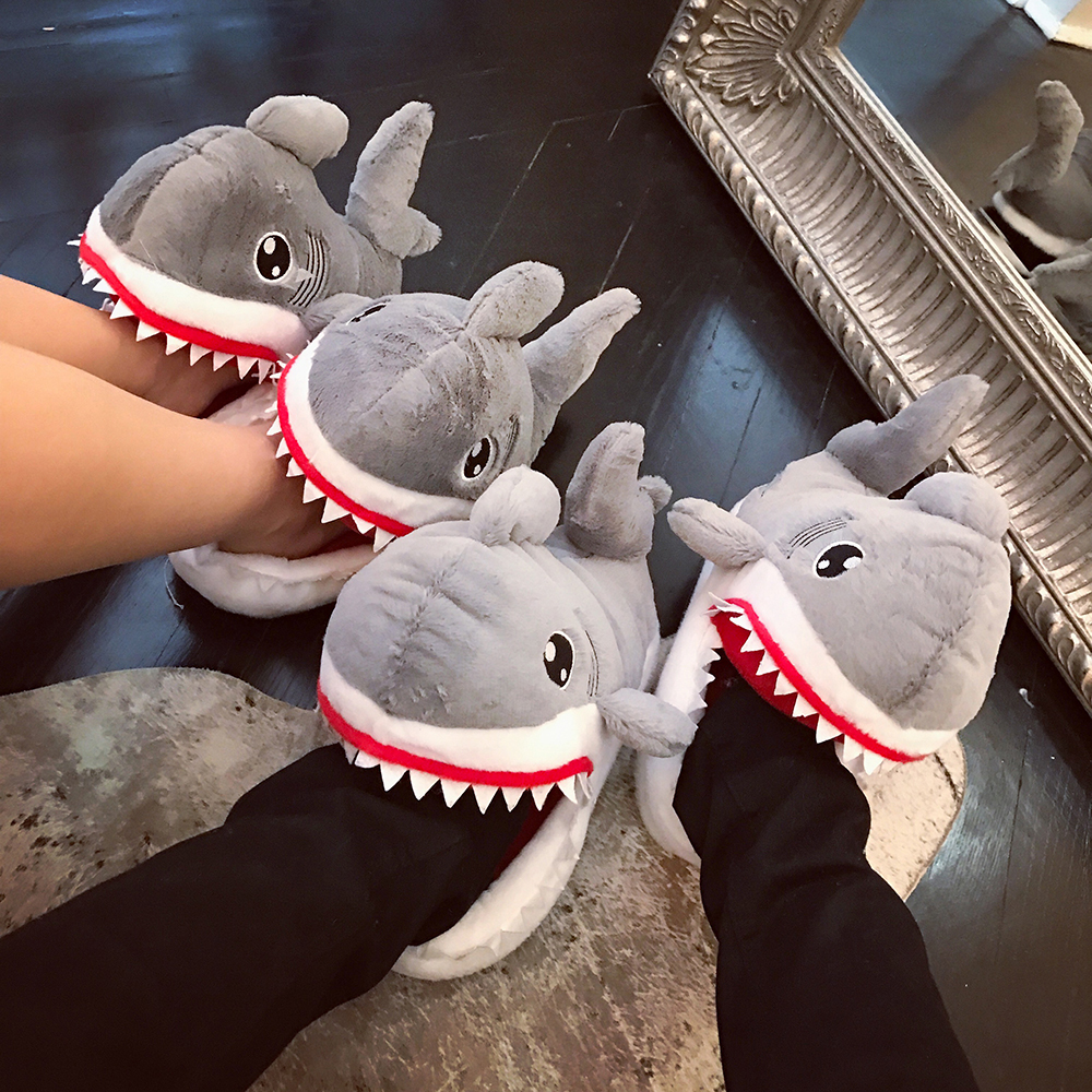 Funny Novel Suck Off Sharks Plush Slippers Shoes Home House Winter Slippers Plush Toys<br><br>Aliexpress
