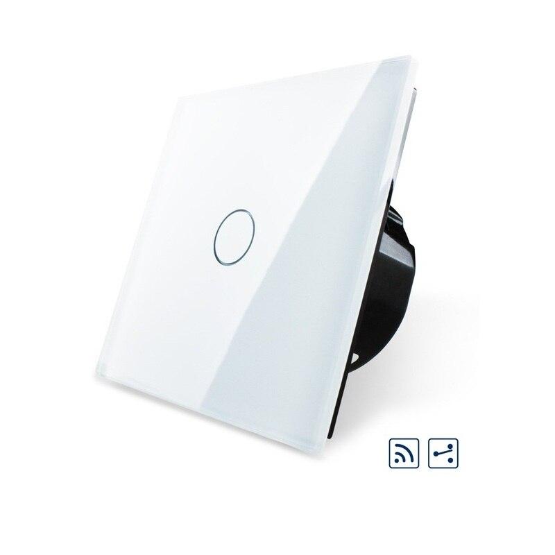 EU Standard Wireless Switch VL-C701SR-11,1Gang 2 Way, Remote Switch, White Crystal Glass Panel, 220~250V + LED Indicator<br>