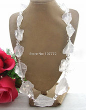 Hand-Made Semi-Stone Amazing! Lovely! Wonderful!! White Rough&Crystal Necklace free +shipment
