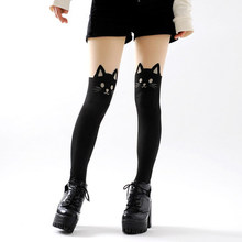 Buy black cat face tights women all-match cartoon cat tights pantyhose girls female cute Japanese schoolwear uniform tights
