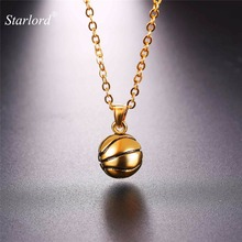 Starlord New Basketball Pendants Necklace Ball Enamel Jewelry Sports Fashion Gold Color Stainless Steel Chain Men Bijoux GP2558(China)
