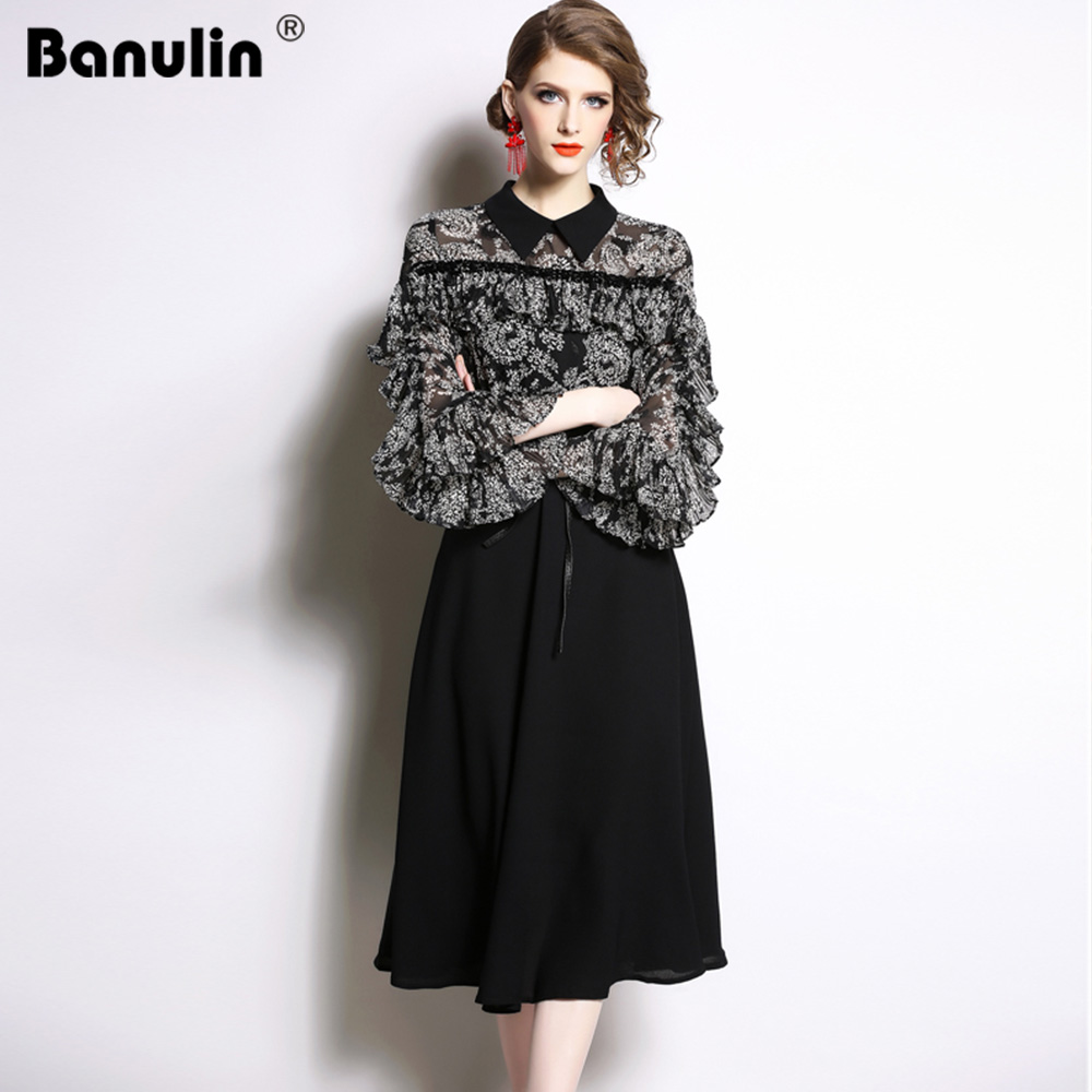 Banulin 2019 Spring Summer Runway Midi Dress Women  High Quality Flare Sleeve Peter Pan Neck Floral Print Patchwork Casual Dress