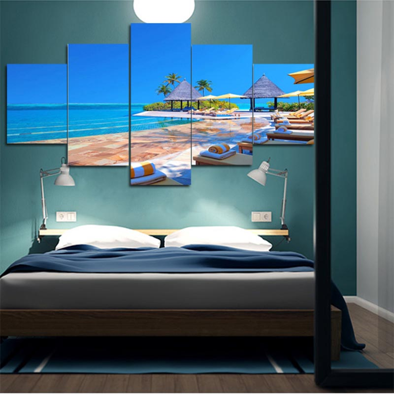 Hot Sale HD High Quality 5 Piece Unframed Seaside Sky And Ocean Home Decor  Wall Art ...