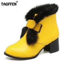 TAOFFEN Size 34-48 Women Mid Half Boots With Thick Fur High Heel Boots Metal Thick Heels Boot Winter Shoes For Woman Footwears(China)
